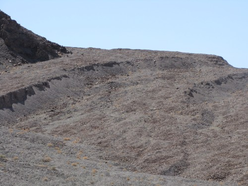 Steps in aluvial fan where fault moved