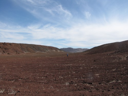 The two sides of the Cindercone that was split by a right lateral strike-slip fault